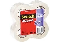 Scotch® Tear-By-Hand Packaging Tape, Clear, 1.88' x 50 yds, 4 Rolls