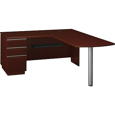 Bush BBF  Milano 2 Right Peninsula L-Desk, Install Ready , Harvest Cherry