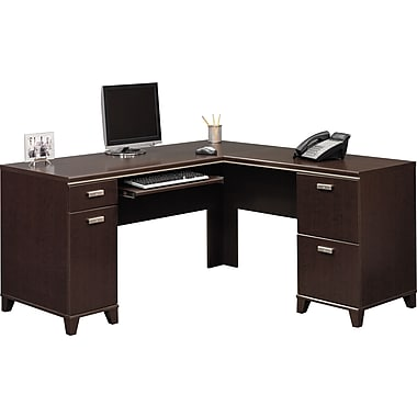 Bush® Tuxedo Collection L-Shape Desk, Mocha Cherry