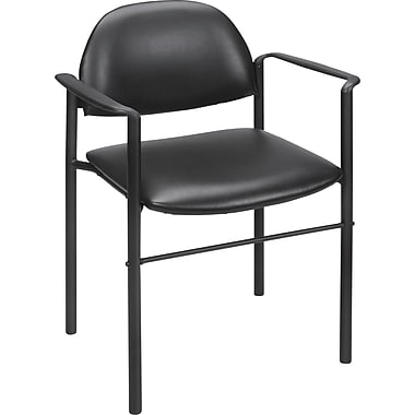 Staples Luxura Round-Back Stacking Chair with Arms, Black