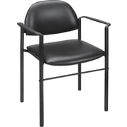 Staples® Luxura® Round Back Stacking Chair, Black