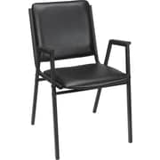 Staples® Luxura® Square Back Stacking Chair, Black