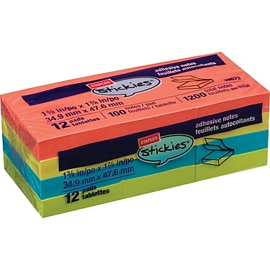 Staples Stickies 1 1/2in. x 2in. Bright Notes, 12/Pack
