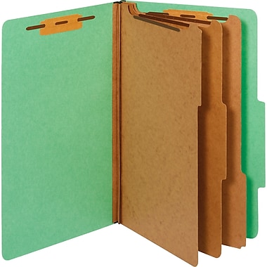 Staples® Colored Pressboard Classification Folders, 2/5 Cut Top Tab, 3 Partitions, 20/Box (98855SB)
