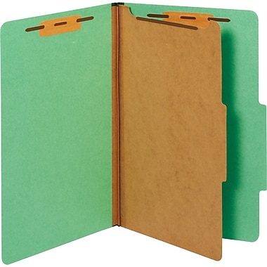 Staples® Colored Pressboard Classification Folders, Legal, 1 Partition, Green, 20/Pack