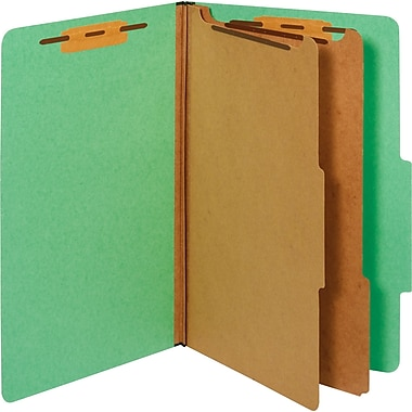 Staples® Colored Pressboard Classification Folders, 2/5 Cut Top Tab, 2 Partitions, 20/Box (PU64GRESB)