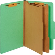 Staples® Colored Pressboard Classification Folders, Legal, 2 Partitions, Green, 20/Pack