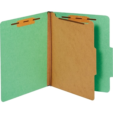 Staples® Colored Pressboard Classification Folders, Letter, 1 Partition, Green, 20/Pack