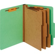 Staples® Colored Pressboard Classification Folders, Letter, 3 Partitions, Green, 20/Pack