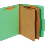 Staples® Colored Pressboard Classification Folders, Letter, 2 Partitions, Green, 20/Pack