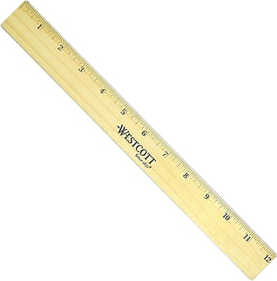 Westcott 5221 Wood Brass Double Edge Ruler 12