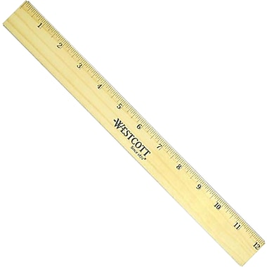 Westcott® 5221 Flexible Wood/Brass Double Edge Ruler, 12in.