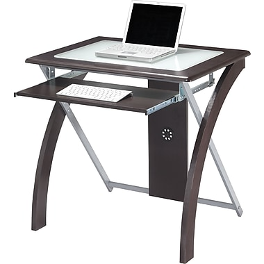 Osp designs x design glass top computer desk espresso Designer glass computer desk