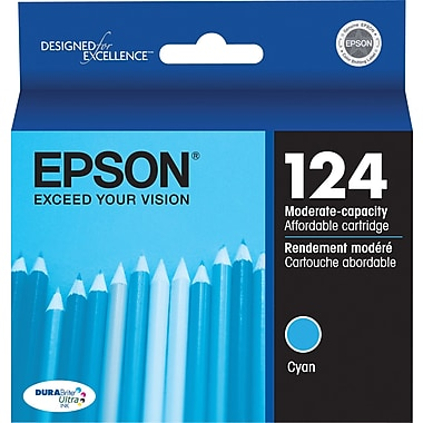 Epson 124 Cyan Ink Cartridge (T124220), Moderate Yield