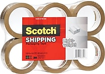 Scotch® Lightweight Packaging Tape, Tan, 1.88' x 54.6 yds., 6/Pack