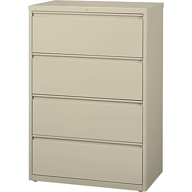 Staples HL8000 4-Drawer Commercial Lateral File Cabinet, Putty (30-Inch Wide)