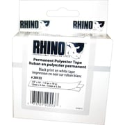 "DYMO Rhino Labeling Tape, Permanent Polyester, Easy to Peel, Thermal Printing, 1/2""x18', Black on White"