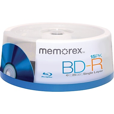 Memorex 15/Pack 25GB BD-R, Spindle