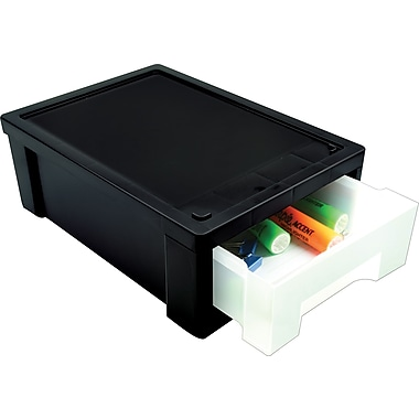 IRIS Small Black Desk Top Stacking Drawer