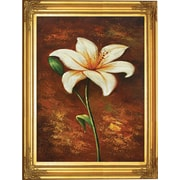 Hand Painted Golden Elegance Tiger Lilly Framed Artwork