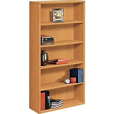 HON® 10500 Series Wood Laminate Bookcase, 5-Shelf, Harvest