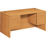 "HON 10500 Series Double Pedestal Office Desk or Computer Desk, 60"" W, Harvest"