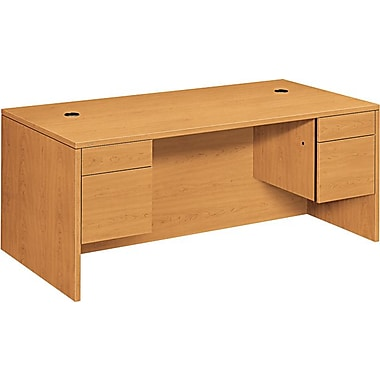 HON 10500 Series 72in. Double Pedestal Desk, Harvest