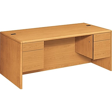 HON 10700 Series 72in. Double Pedestal Desk, Harvest