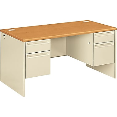 HON 38000 Series Double Pedestal Desk 60in. x 30in., Harvest/Putty