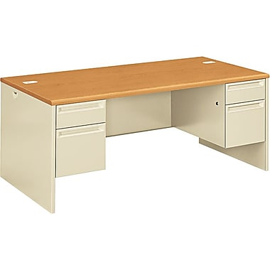 HON 38000 Series Double Pedestal Desk 72in. x 36in., Harvest/Putty