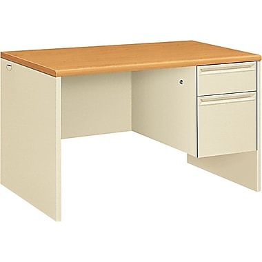 HON 38000 Series 48in. x 30in. Right Single Pedestal Desk, Harvest/Putty