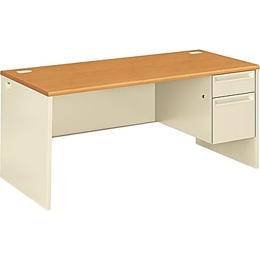 HON 38000 Series in.Lin. Workstation Desk for Left Return, 66in.W, Harvest/Putty