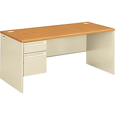 HON 38000 Series in.Lin. Workstation Desk for Right Return, 66in.W, Harvest /Putty