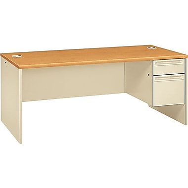 HON 38000 Series 72in. x 36in. Right Single Pedestal Desk, Harvest/Putty