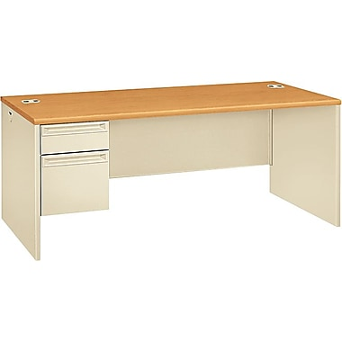 HON 38000 Series 72in. x 36in. Left Single Pedestal Desk, Harvest/Putty