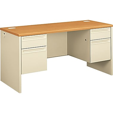 HON 38000 Series Kneespace Credenza with Lock, Harvest/Putty