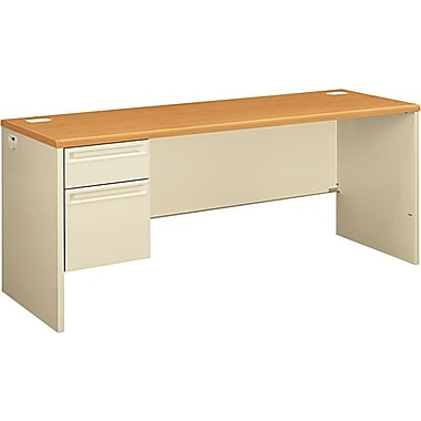 HON 38000 72in. x 24in. Left Single Pedestal Credenza, Harvest/Putty
