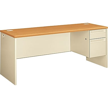 HON 38000 72in. x 24in. Right Single Pedestal Credenza, Harvest/Putty