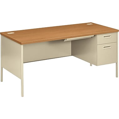 HON Metro Classic 66in. Right Single Pedestal Desk, Harvest/Putty