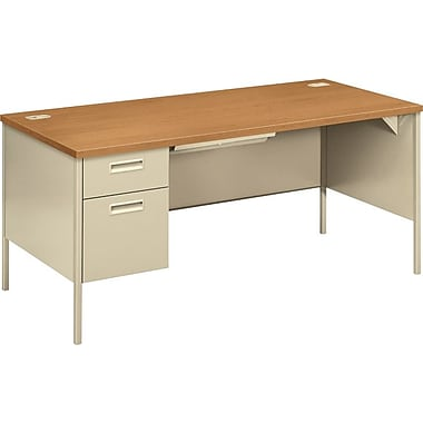 HON Metro Classic 66in. Left Single Pedestal Desk, Harvest/Putty