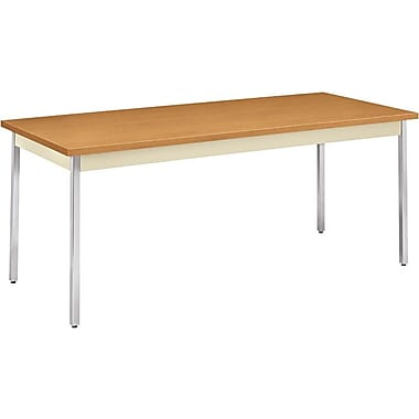 HON 6' Non-Folding Laminate Utility Table, Harvest/Putty, 30in.W