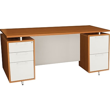 Regency® OneDesk Collection 71in. Double Pedestal Desk, Amber/White Finish