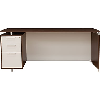 Regency® OneDesk Collection 66in. Single Pedestal Desk, Java/White Finish