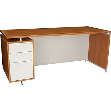 Regency® OneDesk Collection 71in. Single Pedestal Desk, Amber/White Finish