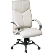 Office Star™ Leather Executive High-Back Chairs, White and Chrome