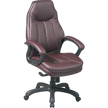 Office Star™ Faux Leather Executive High-Back Chair, Burgundy