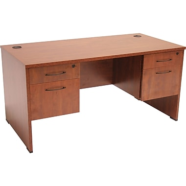 Regency Sandia Complete Office Solution, 66in. Double Pedestal Desk, Cherry