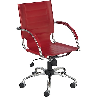 Safco Flaunt Leather Manager's Chair, Fixed Arm, Red