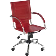 Safco Flaunt Leather Managers Office Chair, Fixed Arms, Red (3456RD)