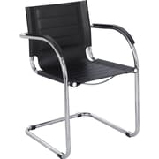 Safco® Flaunt™ Leather Guest Chair, Black